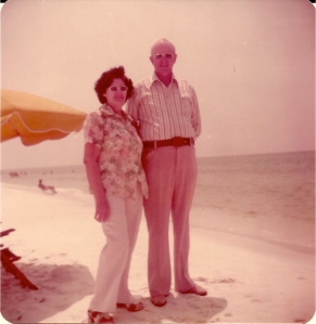 Dad and Mom on beach in Florida